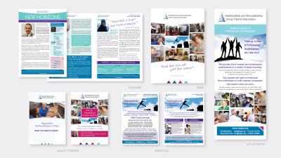 Newsletter, pull-up banner, folder & advertising